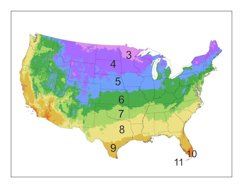 US Hardiness Grow Zone Map