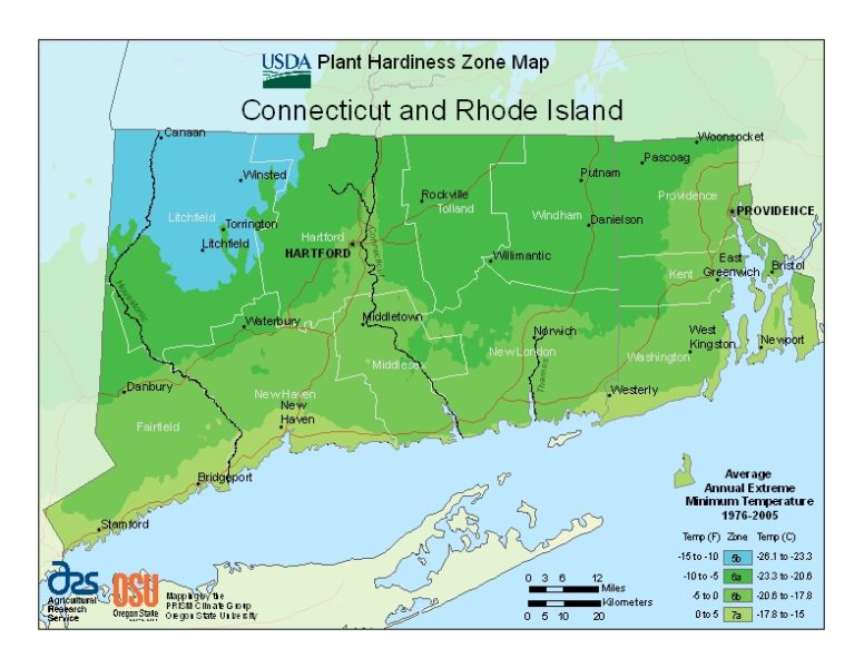 Connecticut & Rhode Island Grow Zone Map