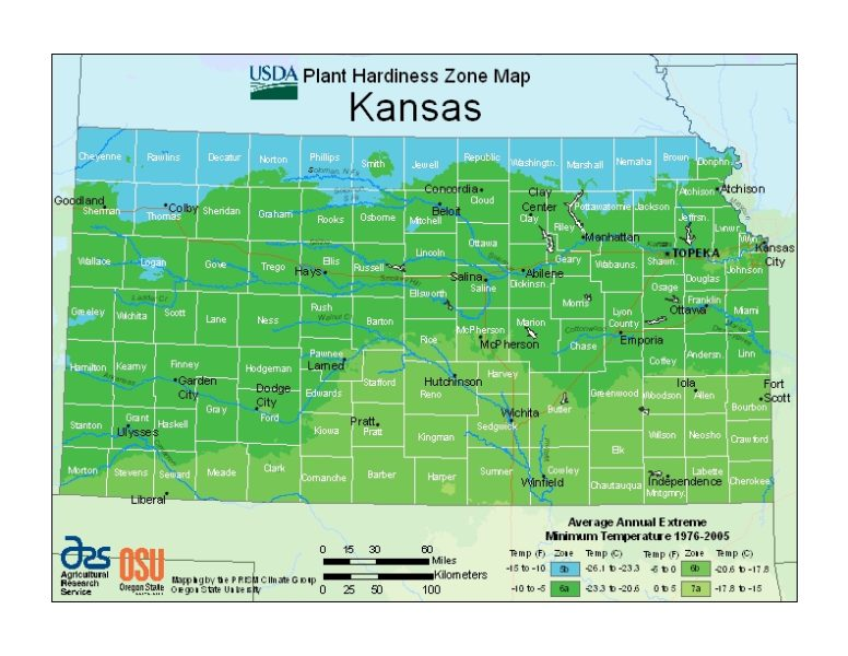 Kansas Grow Zone Map - BuyEvergreenShrubs.com