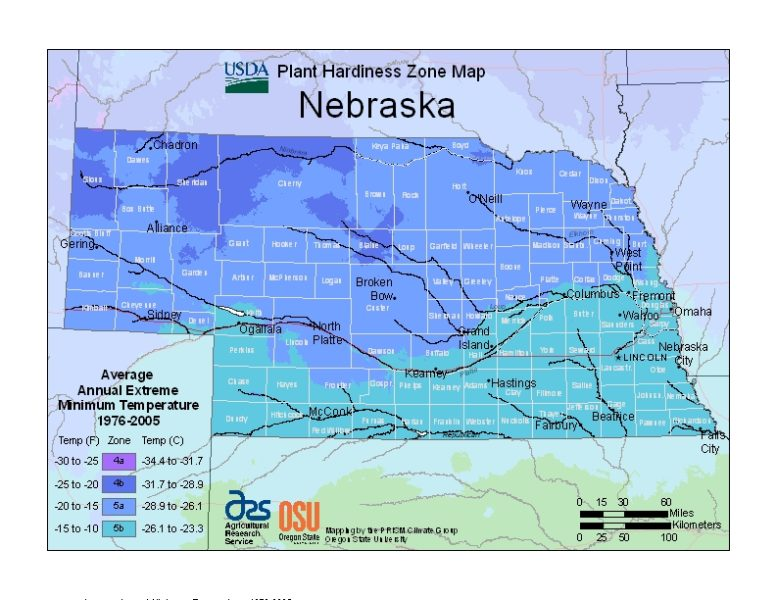 Nebraska Grow Zone Map - BuyEvergreenShrubs.com