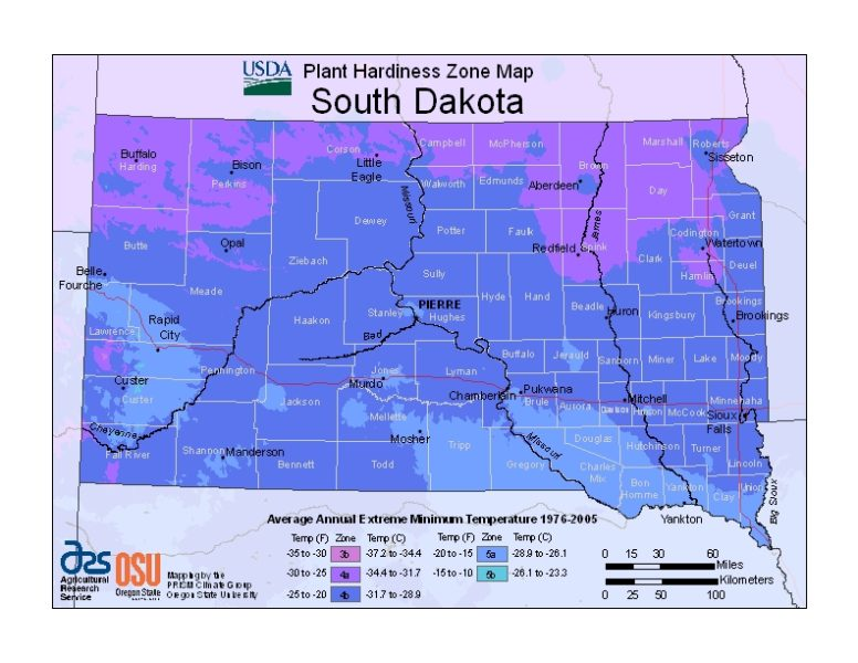 South Dakota Grow Zone Map - BuyEvergreenShrubs.com