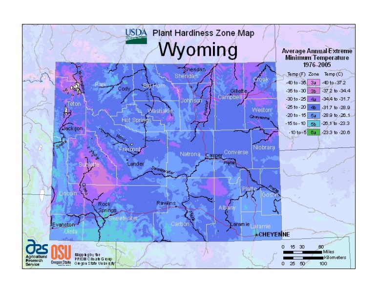 Wyoming Grow Zone Map - BuyEvergreenShrubs.com
